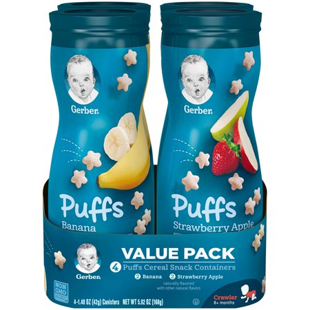 Gerber Puffs Cereal Snack Variety Pack, Banana & Apple Strawberry, 1.48 oz. Canisters (Pack of 8) ()