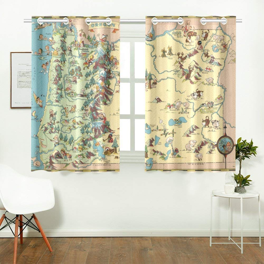 CADecor Vintage 1935 Oregon State Map Window Treatment Panel Curtains Window Curtain Kitchen Curtain,Two Piece 26x39 Inces