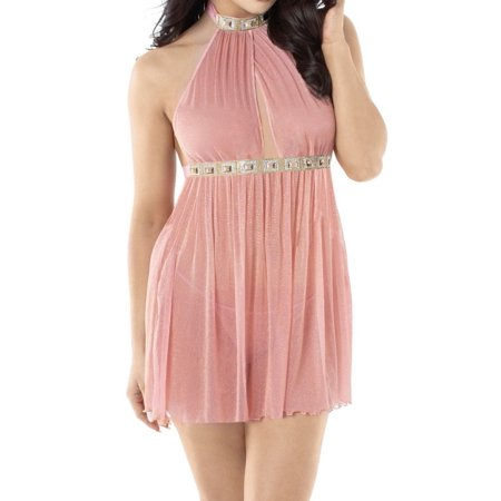 Women's Dreamgirl 11244 Mesh Dress with Matching G-String