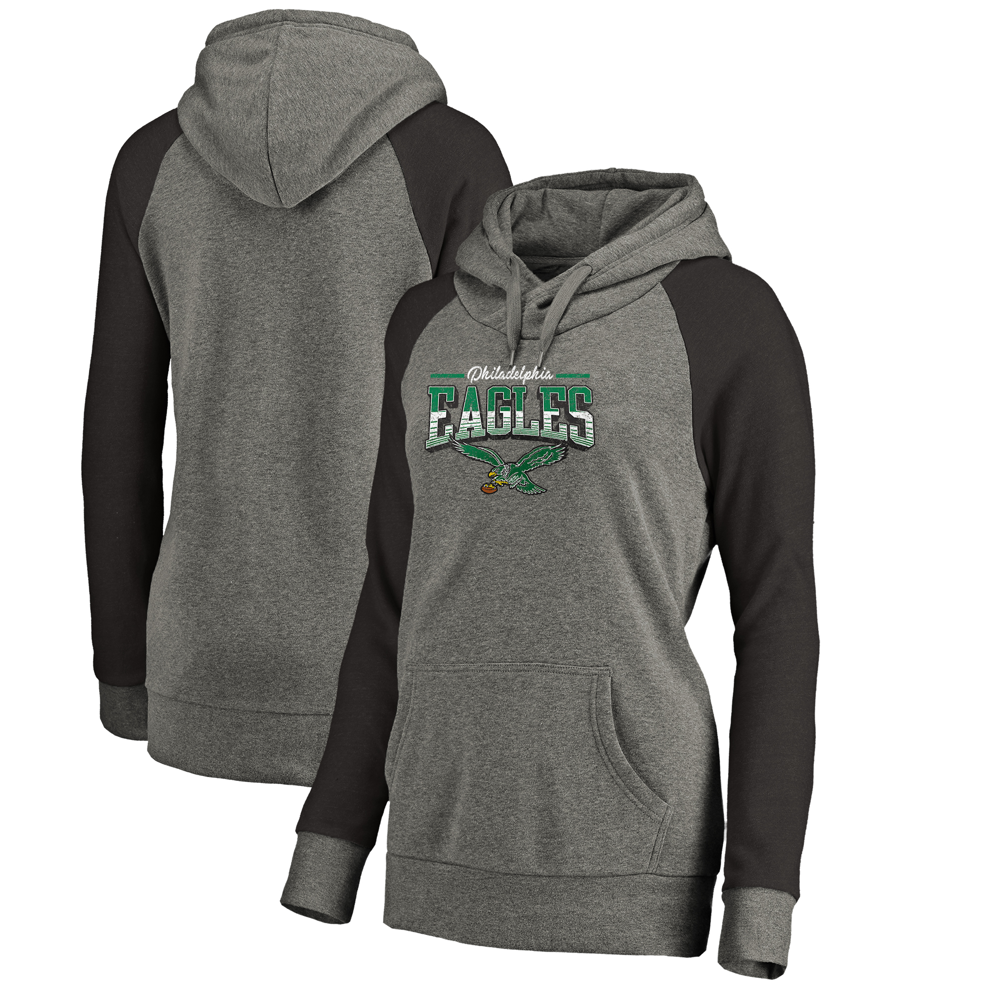 Philadelphia Eagles NFL Pro Line by Fanatics Branded Women's Throwback Collection Season Ticket Raglan Tri-Blend Pullover Hoodie - Heathered Gray/Heathered Black