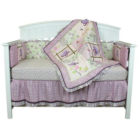 Belle Crib Bedding Set - Lavender Flowers Garden Theme - Butterfly Dreams 9 Piece Baby Bedding Set