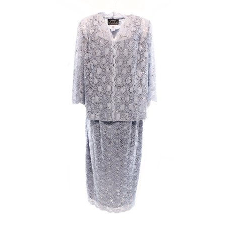 Alex Evenings Sequin Lace Tea Length Dress Jacket Plus Size At