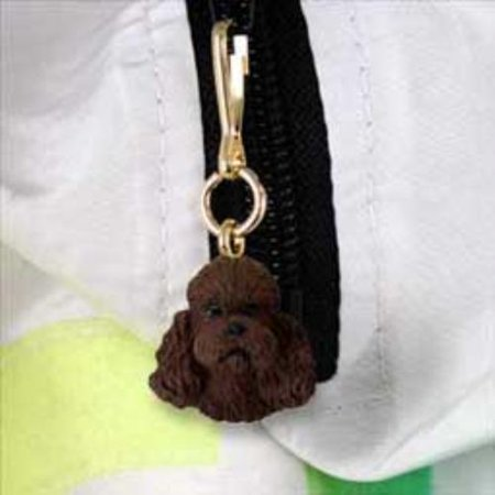 DHZ104E Poodle Chocolate w/Sport Cut Zipper Charm (Cut Zipper)