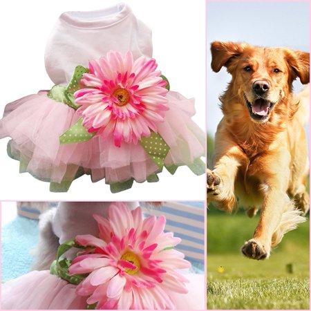Spring Summer Pet Dog Dress Clothes With Big Sunflower Cute Princess Skirt Wedding Ball Gown Party Dress Pet Supplies - image 4 de 7