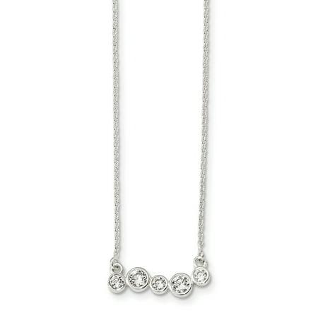 925 Sterling Silver Polished 5 Bezel Set Cubic Zirconia 16in Bar Necklace 16 (16in Necklace Set)