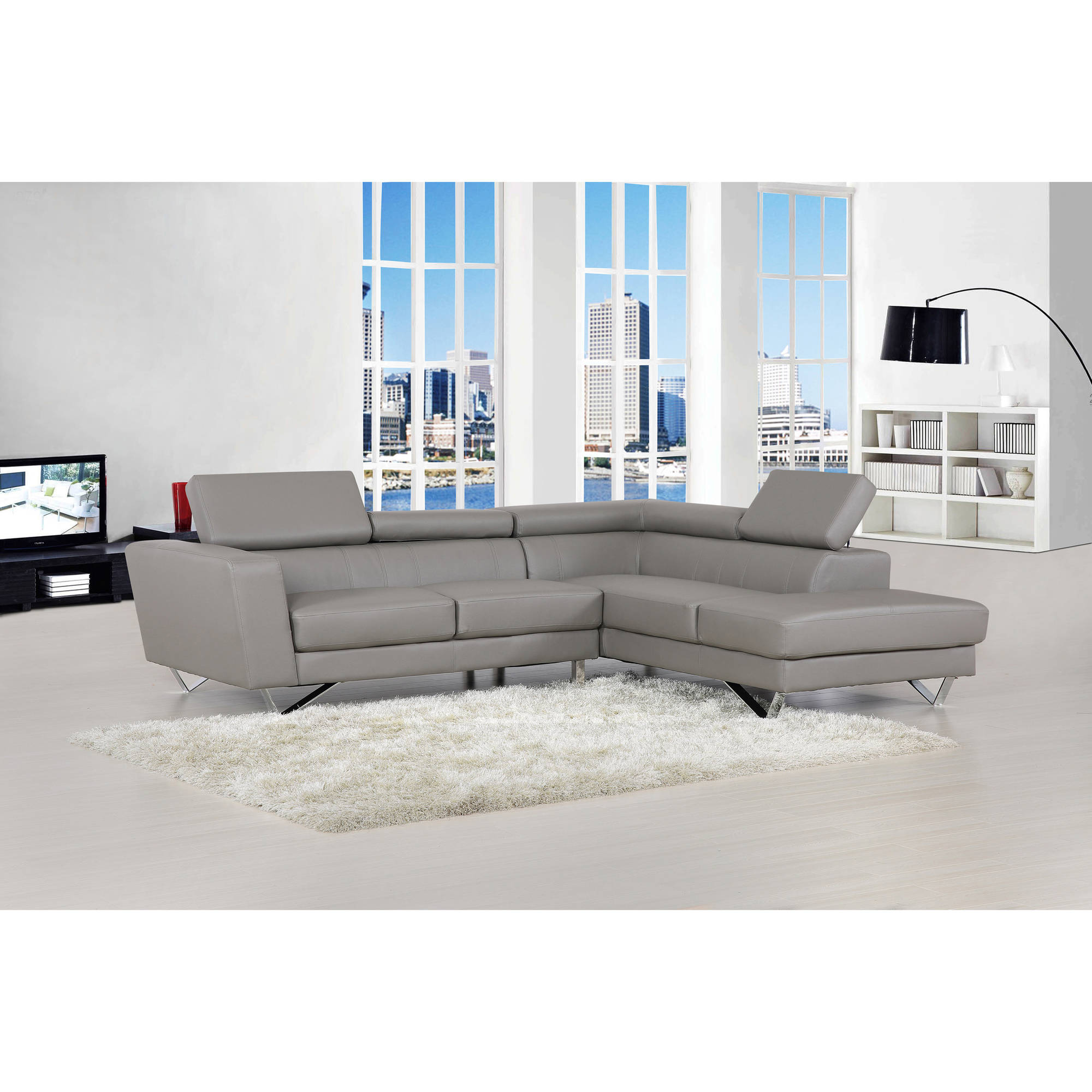 Delia Modern Bonded Leather Right Facing 2-Piece Sectional Sofa, Grey