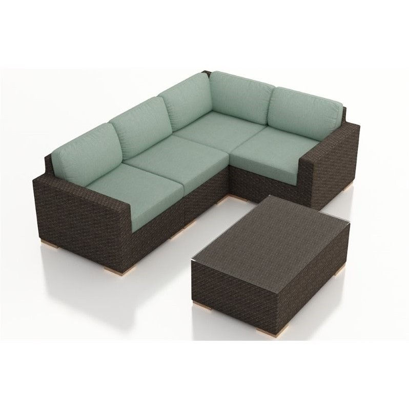 Harmonia Living Arden 5 Piece Patio Sectional Set in Canvas Spa