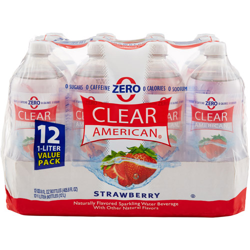Clear American Strawberry Sparkling Water, 1 l, 12 pack