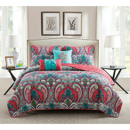 - VCNY Home Multi-Color Casa Re'al 5 Piece Bedding Quilt Set, Shams and Decorative Pillow Included