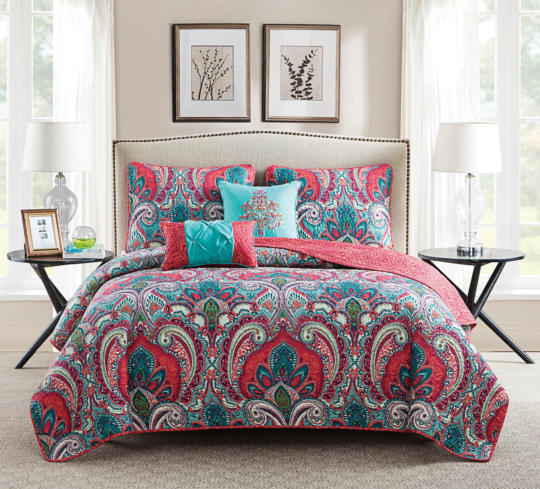 VCNY Home Multi-Color Casa Re'al 5 Piece Bedding Quilt Set, Shams and Decorative Pillow Included