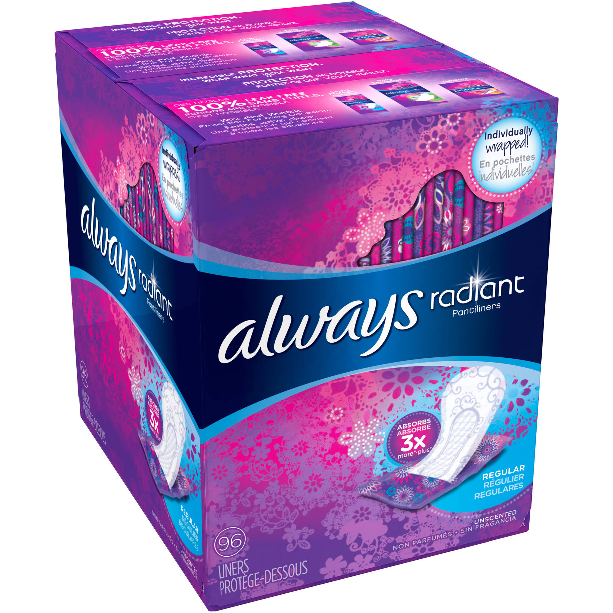 Always Radiant Regular Unscented Pantiliners, (Choose your Count)