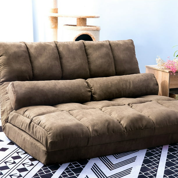 Floor Sofa Bed, Foldable Double Chaise Lounge Sofa Chair with Two