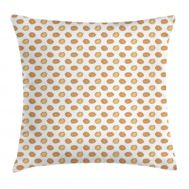 Walnut Throw Pillow Cushion Cover Hand Drawn Abstract Design Repeating Pattern Of Nuts Print Decorative Square Accent Pillow Case 18 X 18 Almond Amber Pale Yellow And White By Ambesonne Walmart Com