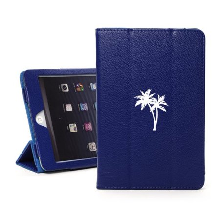 """For Apple iPad Pro 12.9"""" Faux Leather Magnetic Smart Case Cover Palm Trees (Blue)"""