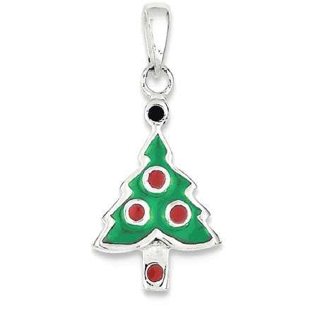 ICE CARATS 925 Sterling Silver Enameled Christmas Tree Pendant Charm Necklace Holiday Fine Jewelry Ideal Gifts For Women Gift Set From Heart - Christmas Jewelry Ideas