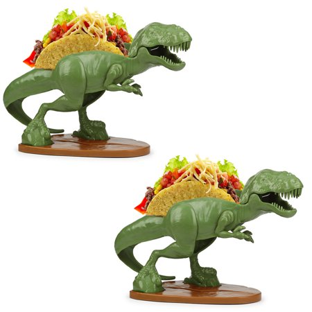 Disposable Taco Holder ((Set/2) Tacosaurus Rex Double Taco Holder - Prehistoric Meal-time - ABS)