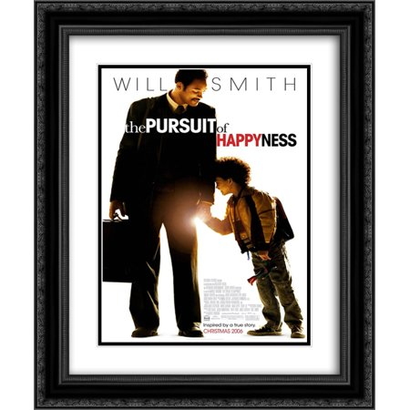 The Pursuit Of Happyness 20X24 Double Matted Black Ornate Framed Movie Poster Art Print
