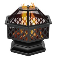 """24"""" Fire Pit with Flame-Retardant Lid, Hex-Shaped Steel Outdoor Metal Fire Pit Decoration Accent, Premium Fire Pit with Poker, Wood Burning Fireplace Ice Pit for Backyard Patio Garden BBQ Grill, S7035"""