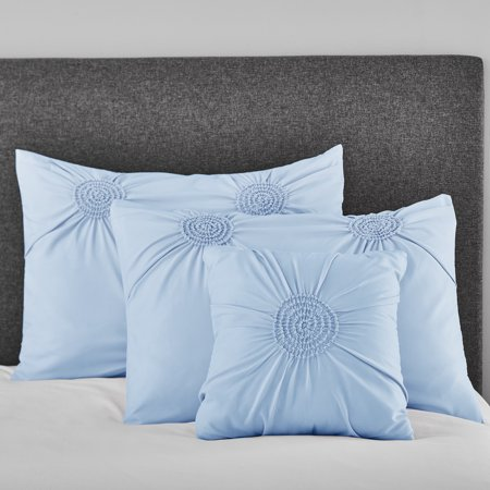 King Size Polyester Pillow Sham (Mainstays Circle Ruched Solid King Sham and Decorative Pillow Set, Light Blue )