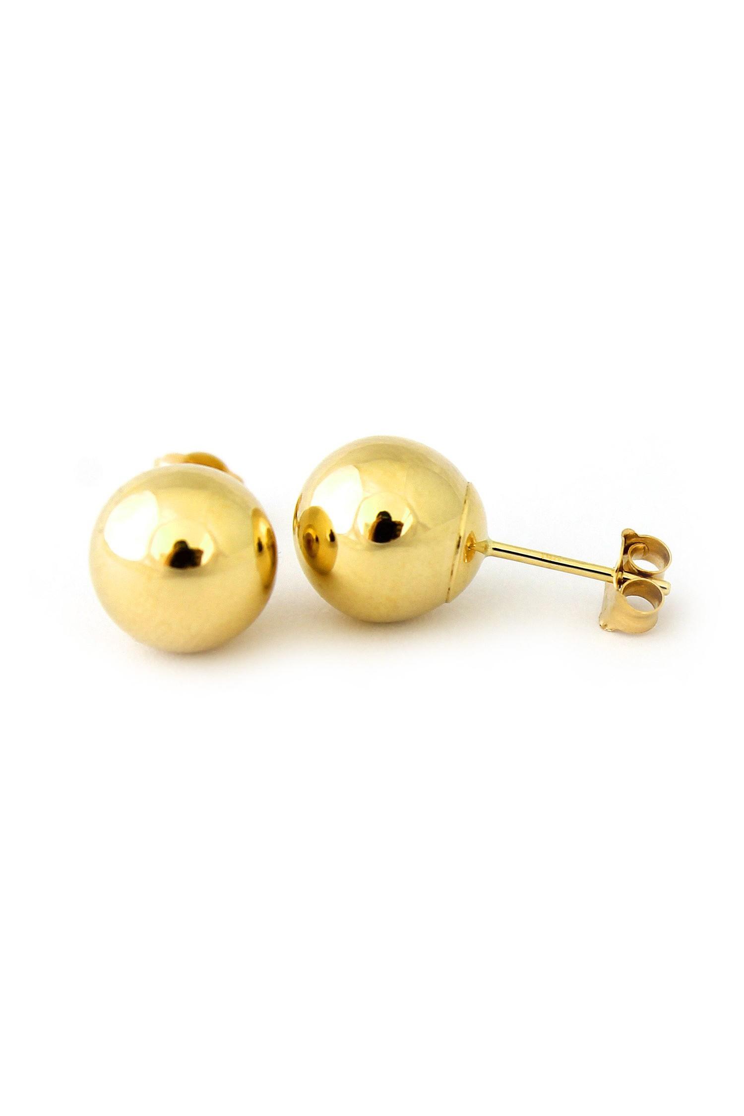 14 Karat Yellow Gold Round Bead Ball Stud Earrings 4mm