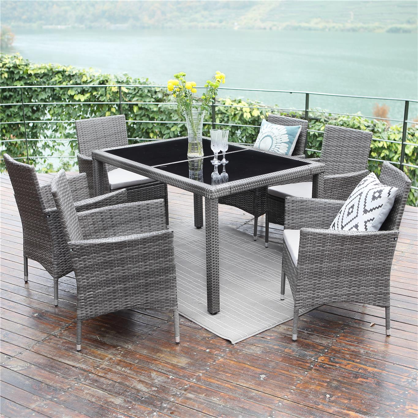 7 Piece Patio Wicker Dining Set,Wisteria Lane Outdoor Rattan Dining Furniture Glass Table Cushioned Chair,Grey