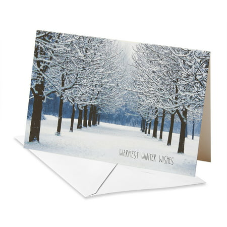 American Greetings Deluxe Snowy Park Holiday Wishes Boxed Cards and Envelopes, 14ct