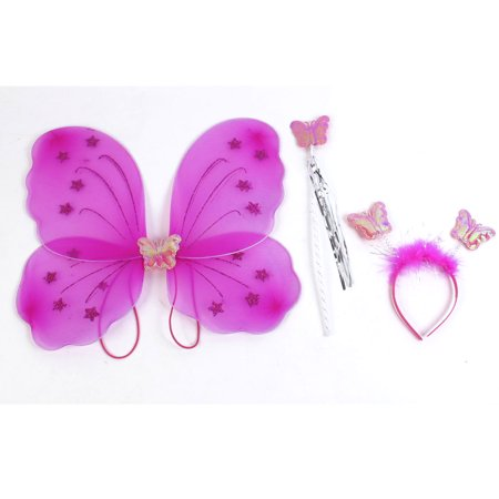 Unique Bargains Girls Butterfly Fairy Angel Wings Wand Boppers Set Party Fancy Dress Fuchsia - Butterfly With Angel Wings