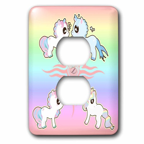 3dRose Unicorn with Hearts and Rainbows, 2 Plug Outlet Cover