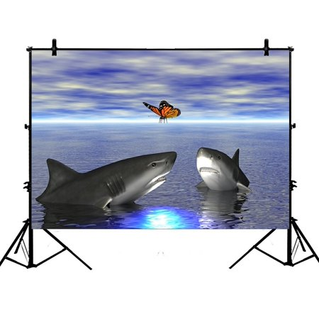 PHFZK 7x5ft Ocean Animal Backdrops, Butterfly and Funny Shark Photography Backdrops Polyester Photo Background Studio Props ()