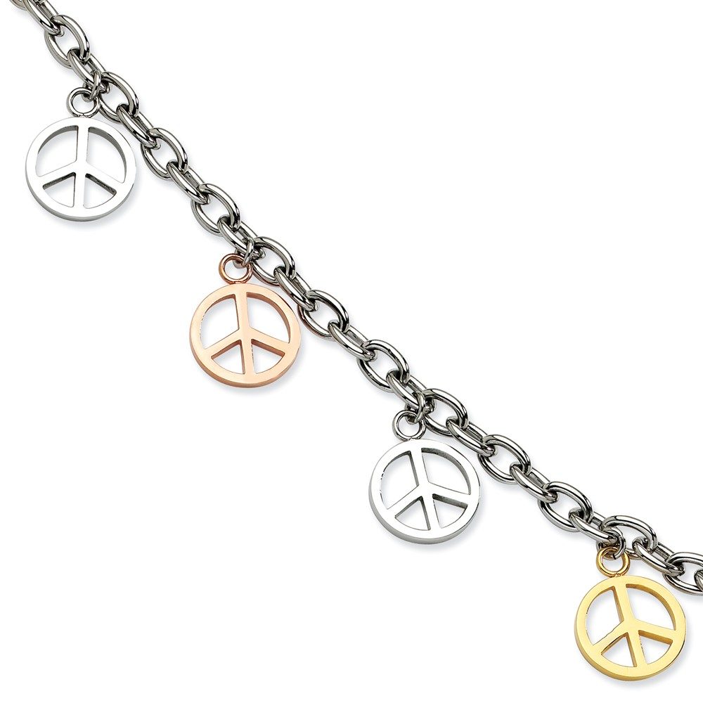 Stainless Steel Multicolor Peace Signs Charm Adjustable Bracelet. 8.5in long.