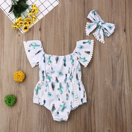 Baby Girls Romper Outfits Jumpsuits Cactus Print Romper with Headband 2PCS Bodysuit Clothes Set (Cactus Band)