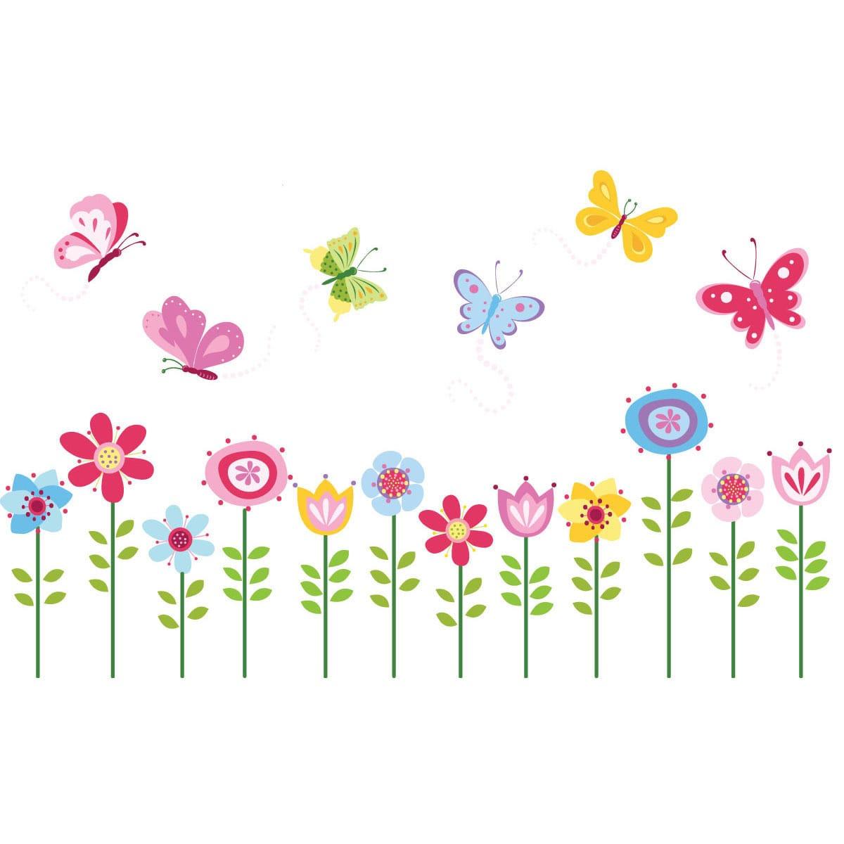 Cherry creek inc Bright Butterfly Garden Peel & Stick Kids Room/ Nursery Wall Decal for Boys & Girls