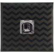 "Embossed Post Bound Scrapbook Album 12""X12""-Black Chevron"