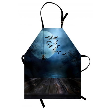 Halloween Apron Misty Lake Scene Rusty Wooden Deck Spider Eyeball and Bats with Ominous Skyline, Unisex Kitchen Bib Apron with Adjustable Neck for Cooking Baking Gardening, Blue Brown, by Ambesonne](Halloween Cooking Eyeballs)