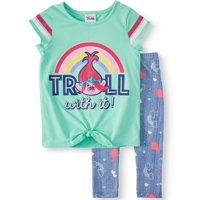 """Troll With It"" Rainbow Tie-Front Varsity Tee and Legging, 2-Piece Outfit Set (Little Girls)"