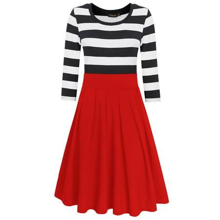 HiQueen Women Casual Scoop Neck 3/4 Sleeve A-Line Swing Dress Stripe Modest