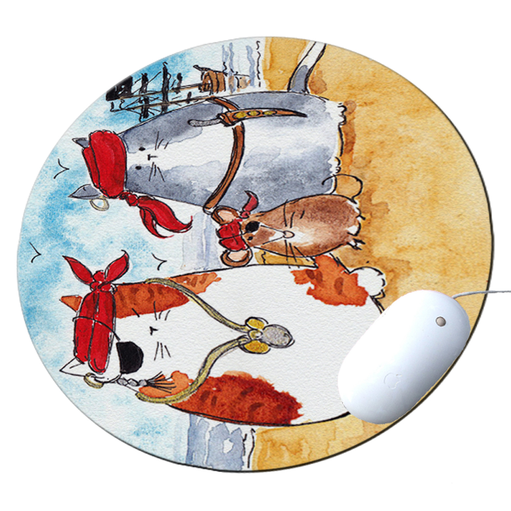 KuzmarK Round Mousepad / Hot Pad / Trivet - Pirate Cats and Rat Art by Denise Every