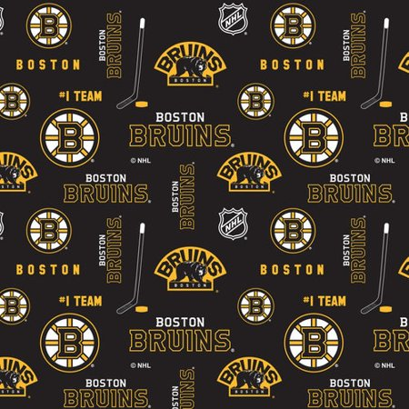 Boston Bruins  Cotton Fabric With All Over Pattern-Sold By The (Best Fabric Stores In Boston)