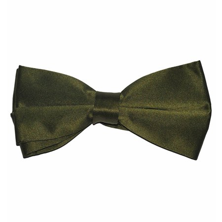 Solid Olive Green Men's Bow Tie, Pre-tied Solid Olive Green