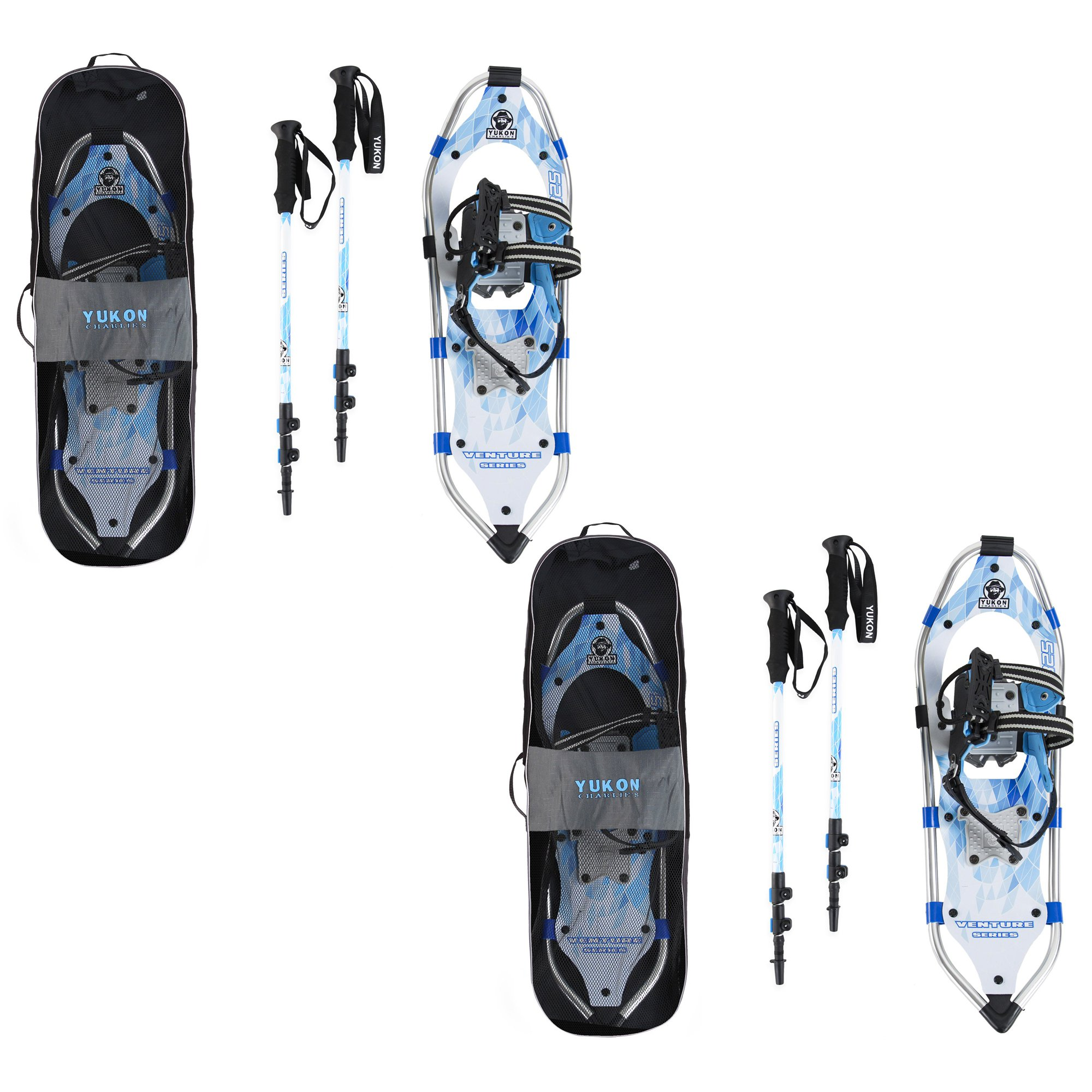 Yukon Charlie's Advanced 8x25 Inch Women's Snowshoe Kit w  Poles & Bag (2 Pack) by Yukon Charlie's