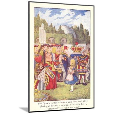 Alice in Wonderland, Queen of Hearts Wood Mounted Print Wall Art](Queen Of Hearts On Alice In Wonderland)