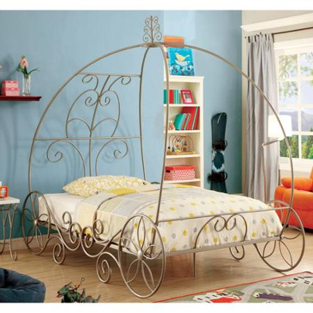 Furniture Of America Princess Dream Carriage Inspired Champagne Metal Bed