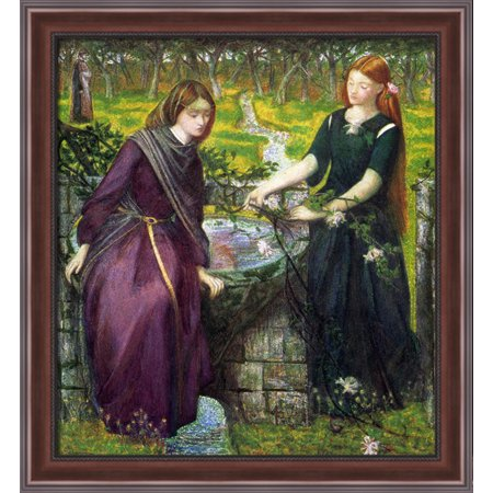 Dante S Vision Of Rachel And Leah 28X30 Large Walnut Ornate Wood Framed Canvas Art By Dante Gabriel Rossetti