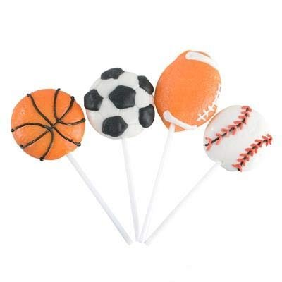 "2"" Sports Ball Lollipops - Pack of 12 Assorted Fruit-Flavored Candy Suckers for Party Favors, Cake Decorations, Novelty Supplies or Treats for Halloween, Christmas, Baby Showers by - Halloween Food For Toddlers Party"