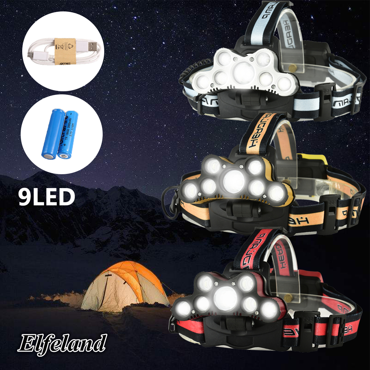 Elfeland T6 LED Headlamp USB Rechargeable 18650 Zoomable Headlight Torch Lamp + 2pcs 18650 Battery + USB Cable -SOS Help whistle