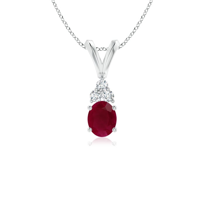 Angara V-Bale Ruby Necklace in 14k White Gold - July Birthstone Pendant JkOaukHD