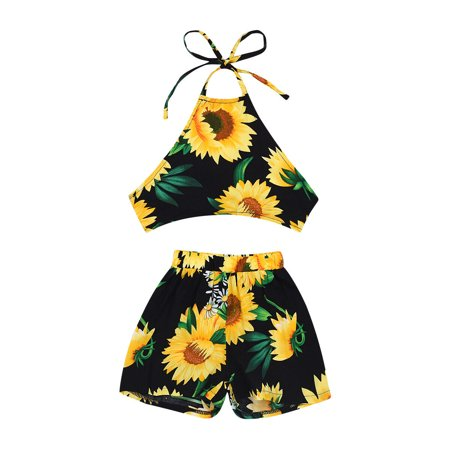 ac45623ee8ab2 Goocheer Toddler Baby Girl Clothes Sunflower Halter Tops Vest Shorts Pants  Outfit Sunsuit