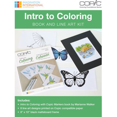 Copic Intro To Coloring Book & Line Art Kit-