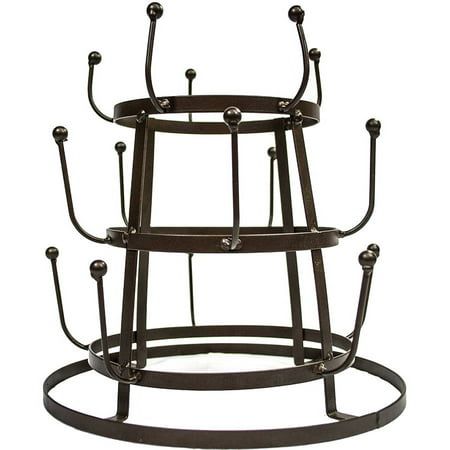 Sorbus Vintage Rustic Brown Iron Mug/Cup/Glass Bottle Organizer Tree Drying Rack Stand (Pill Bottle Mug)