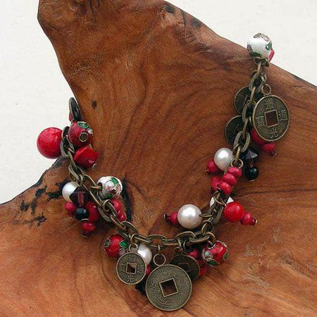 Global Crafts Handmade Cloisonne and Coin Charm Bracelet (China)